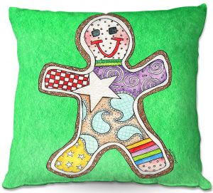 Throw Pillows Decorative Artistic | Marley Ungaro - Gingerbread Kelly | Gingerbread Man Holidays Christmas Childlike