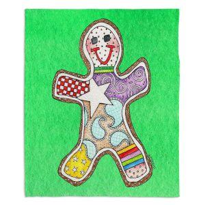 Decorative Fleece Throw Blankets | Marley Ungaro - Gingerbread Kelly | Gingerbread Man Holidays Christmas Childlike