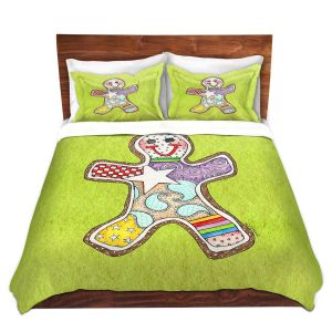 Artistic Duvet Covers and Shams Bedding | Marley Ungaro - Gingerbread Lime | Gingerbread Man Holidays Christmas Childlike