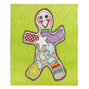 Decorative Fleece Throw Blankets | Marley Ungaro - Gingerbread Lime | Gingerbread Man Holidays Christmas Childlike