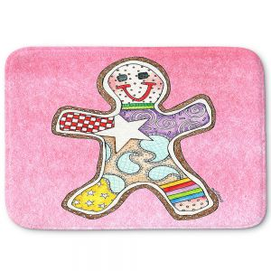 Decorative Bathroom Mats | Marley Ungaro - Gingerbread Light Pink | Gingerbread Man Holidays Christmas Childlike