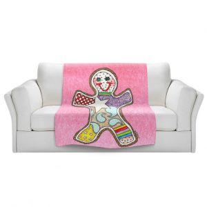 Artistic Sherpa Pile Blankets   Marley Ungaro - Gingerbread Light Pink   Gingerbread Man Holidays Christmas Childlike
