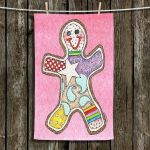 Unique Bathroom Towels   Marley Ungaro - Gingerbread Light Pink   Gingerbread Man Holidays Christmas Childlike