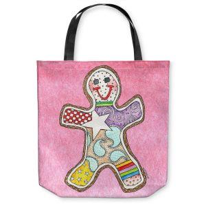 Unique Shoulder Bag Tote Bags | Marley Ungaro - Gingerbread Light Pink | Gingerbread Man Holidays Christmas Childlike