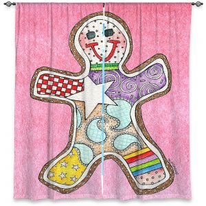 Decorative Window Treatments | Marley Ungaro - Gingerbread Light Pink | Gingerbread Man Holidays Christmas Childlike