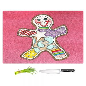 Artistic Kitchen Bar Cutting Boards | Marley Ungaro - Gingerbread Pink | Gingerbread Man Holidays Christmas Childlike