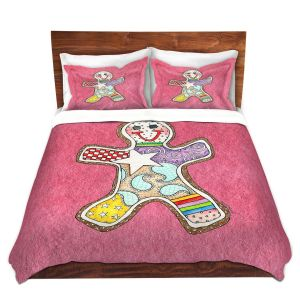 Artistic Duvet Covers and Shams Bedding | Marley Ungaro - Gingerbread Pink | Gingerbread Man Holidays Christmas Childlike