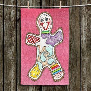 Unique Hanging Tea Towels | Marley Ungaro - Gingerbread Pink | Gingerbread Man Holidays Christmas Childlike