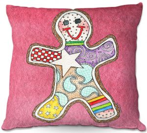 Decorative Outdoor Patio Pillow Cushion | Marley Ungaro - Gingerbread Pink | Gingerbread Man Holidays Christmas Childlike