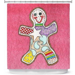 Premium Shower Curtains | Marley Ungaro - Gingerbread Pink | Gingerbread Man Holidays Christmas Childlike