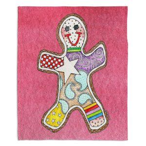 Decorative Fleece Throw Blankets | Marley Ungaro - Gingerbread Pink | Gingerbread Man Holidays Christmas Childlike