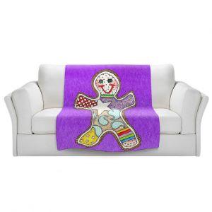 Artistic Sherpa Pile Blankets   Marley Ungaro - Gingerbread Purple   Gingerbread Man Holidays Christmas Childlike