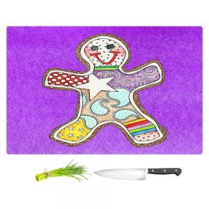 Artistic Kitchen Bar Cutting Boards | Marley Ungaro - Gingerbread Purple | Gingerbread Man Holidays Christmas Childlike
