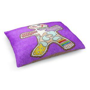 Decorative Dog Pet Beds   Marley Ungaro - Gingerbread Purple   Gingerbread Man Holidays Christmas Childlike