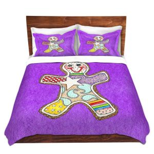 Artistic Duvet Covers and Shams Bedding | Marley Ungaro - Gingerbread Purple | Gingerbread Man Holidays Christmas Childlike