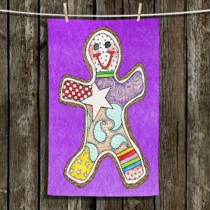 Unique Bathroom Towels   Marley Ungaro - Gingerbread Purple   Gingerbread Man Holidays Christmas Childlike