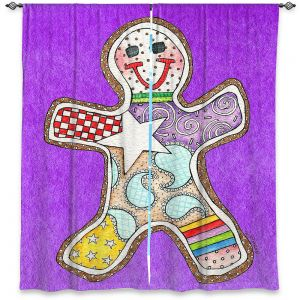 Decorative Window Treatments | Marley Ungaro - Gingerbread Purple | Gingerbread Man Holidays Christmas Childlike