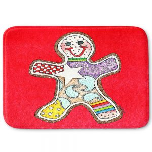 Decorative Bathroom Mats | Marley Ungaro - Gingerbread Red | Gingerbread Man Holidays Christmas Childlike