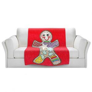 Artistic Sherpa Pile Blankets   Marley Ungaro - Gingerbread Red   Gingerbread Man Holidays Christmas Childlike
