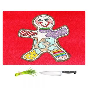 Artistic Kitchen Bar Cutting Boards | Marley Ungaro - Gingerbread Red | Gingerbread Man Holidays Christmas Childlike