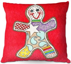 Throw Pillows Decorative Artistic | Marley Ungaro - Gingerbread Red | Gingerbread Man Holidays Christmas Childlike