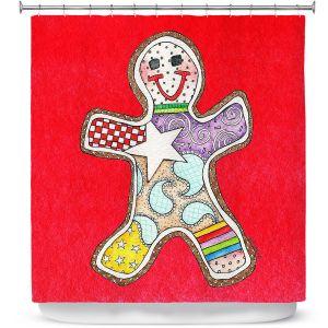 Premium Shower Curtains | Marley Ungaro - Gingerbread Red | Gingerbread Man Holidays Christmas Childlike