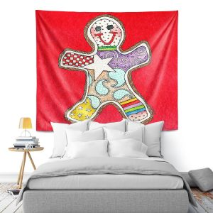 Artistic Wall Tapestry | Marley Ungaro - Gingerbread Red | Gingerbread Man Holidays Christmas Childlike