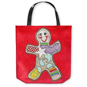Unique Shoulder Bag Tote Bags | Marley Ungaro - Gingerbread Red | Gingerbread Man Holidays Christmas Childlike