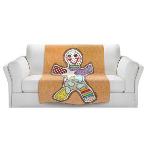 Artistic Sherpa Pile Blankets   Marley Ungaro - Gingerbread Tan   Gingerbread Man Holidays Christmas Childlike