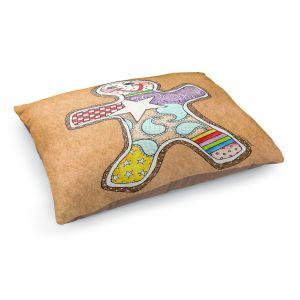 Decorative Dog Pet Beds   Marley Ungaro - Gingerbread Tan   Gingerbread Man Holidays Christmas Childlike