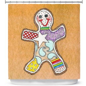 Premium Shower Curtains | Marley Ungaro - Gingerbread Tan | Gingerbread Man Holidays Christmas Childlike