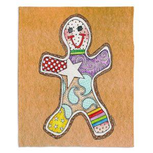 Decorative Fleece Throw Blankets | Marley Ungaro - Gingerbread Tan | Gingerbread Man Holidays Christmas Childlike