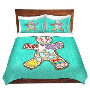 Artistic Duvet Covers and Shams Bedding | Marley Ungaro - Gingerbread Turquoise | Gingerbread Man Holidays Christmas Childlike