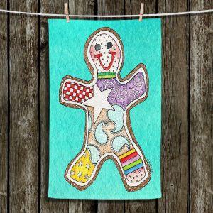 Unique Bathroom Towels   Marley Ungaro - Gingerbread Turquoise   Gingerbread Man Holidays Christmas Childlike
