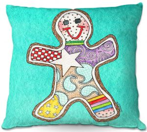Decorative Outdoor Patio Pillow Cushion | Marley Ungaro - Gingerbread Turquoise | Gingerbread Man Holidays Christmas Childlike