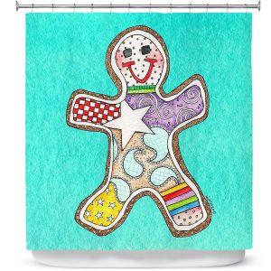 Premium Shower Curtains | Marley Ungaro - Gingerbread Turquoise | Gingerbread Man Holidays Christmas Childlike