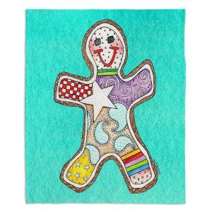 Decorative Fleece Throw Blankets | Marley Ungaro - Gingerbread Turquoise | Gingerbread Man Holidays Christmas Childlike