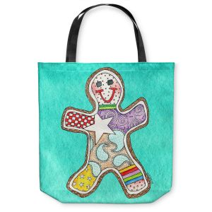 Unique Shoulder Bag Tote Bags | Marley Ungaro - Gingerbread Turquoise | Gingerbread Man Holidays Christmas Childlike