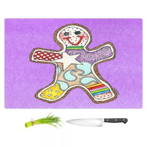 Artistic Kitchen Bar Cutting Boards | Marley Ungaro - Gingerbread Violet | Gingerbread Man Holidays Christmas Childlike