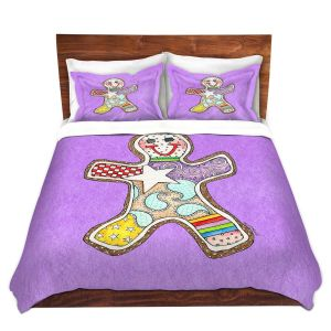 Artistic Duvet Covers and Shams Bedding | Marley Ungaro - Gingerbread Violet | Gingerbread Man Holidays Christmas Childlike