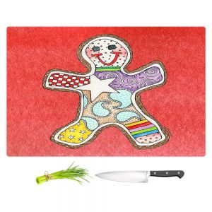 Artistic Kitchen Bar Cutting Boards | Marley Ungaro - Gingerbread Watermelon | Gingerbread Man Holidays Christmas Childlike