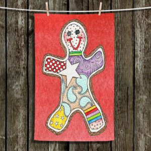 Unique Hanging Tea Towels | Marley Ungaro - Gingerbread Watermelon | Gingerbread Man Holidays Christmas Childlike