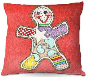 Throw Pillows Decorative Artistic | Marley Ungaro - Gingerbread Watermelon | Gingerbread Man Holidays Christmas Childlike