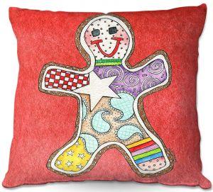 Decorative Outdoor Patio Pillow Cushion | Marley Ungaro - Gingerbread Watermelon | Gingerbread Man Holidays Christmas Childlike