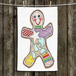 Unique Bathroom Towels   Marley Ungaro - Gingerbread White   Gingerbread Man Holidays Christmas Childlike