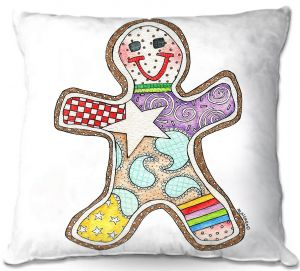 Throw Pillows Decorative Artistic | Marley Ungaro - Gingerbread White | Gingerbread Man Holidays Christmas Childlike