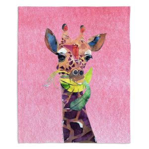 Decorative Fleece Throw Blankets | Marley Ungaro - Giraffe Light Pink | Nature animals portrait