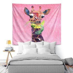 Artistic Wall Tapestry | Marley Ungaro - Giraffe Light Pink | Nature animals portrait