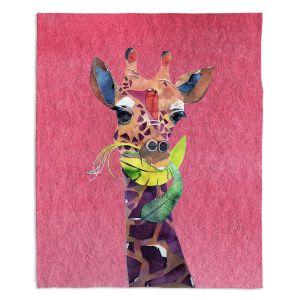 Decorative Fleece Throw Blankets | Marley Ungaro - Giraffe Pink | Nature animals portrait
