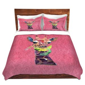 Artistic Duvet Covers and Shams Bedding | Marley Ungaro - Giraffe Pink | Nature animals portrait